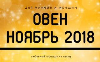 Любовный гороскоп для Овна на ноябрь 2018 года для женщин и мужчин