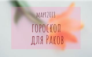 Гороскоп на март 2018 года: Рак мужчина и женщина
